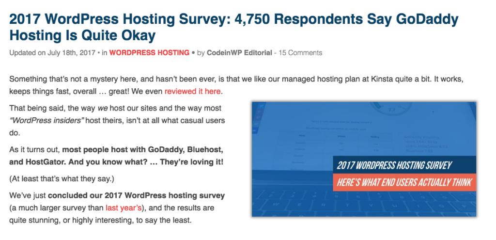 Hosting survey