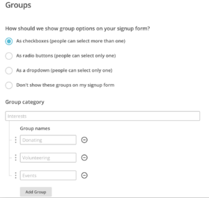 MailChimp Groups and Interests