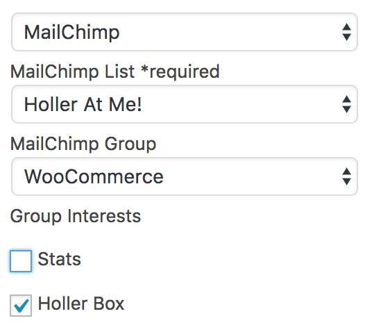 Holler Box MailChimp Settings