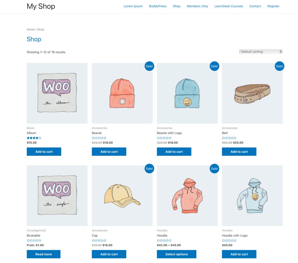 Astra theme WooCommerce shop page